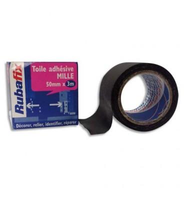 RUBAFIX Rouleau de toile adhésive MILLE plastifiée et imperméable noir de 50 mm x 3 m