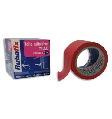 RUBAFIX Toile adhésive MILLE, plastifiée et imperméable, rouleau de 50 mm x 3 m rouge