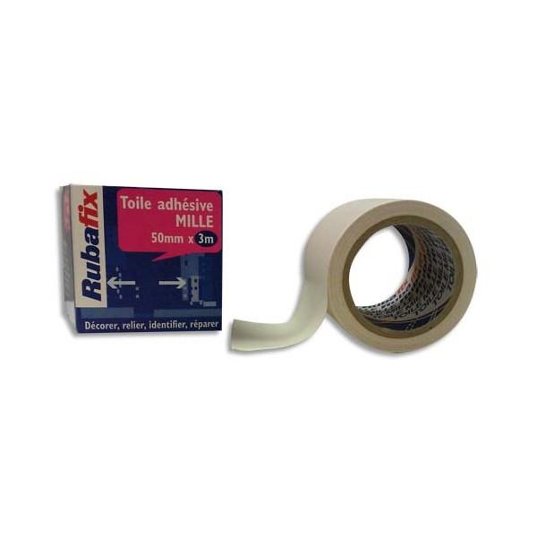 RUBAFIX Rouleau de toile adhésive MILLE plastifiée et imperméable blanche de 50 mm x 3 m