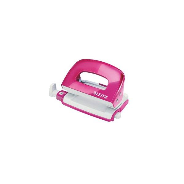 LEITZ Mini perforateur WOW en métal 2 trous, coloris rose, capacité 10 feuilles