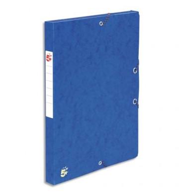 5 ETOILES Boîtes de classement à élastique dos de 4 cm, en carte lustrée 490g, bleu