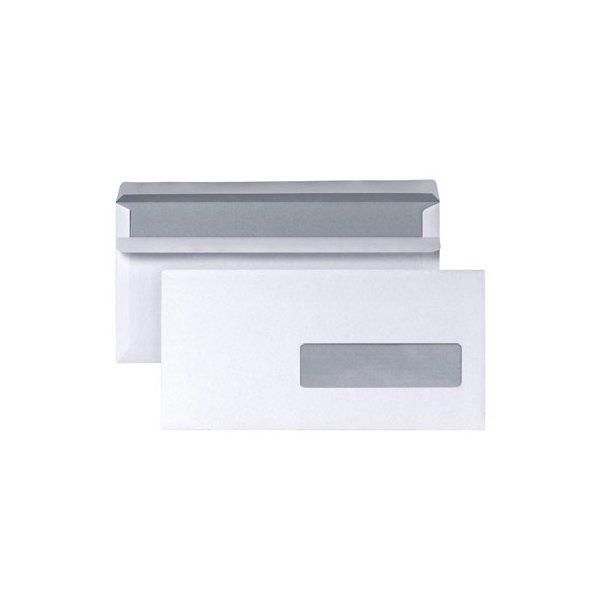 NEUTRE Boîte 500 enveloppes autocollantes 80g format DL 110 x 220 mm fenêtre 35 x 100 mm
