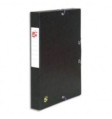 5 ETOILES Boîte de classement à élastique en carte dos de 4 cm, en carte lustrée 7/10e noir