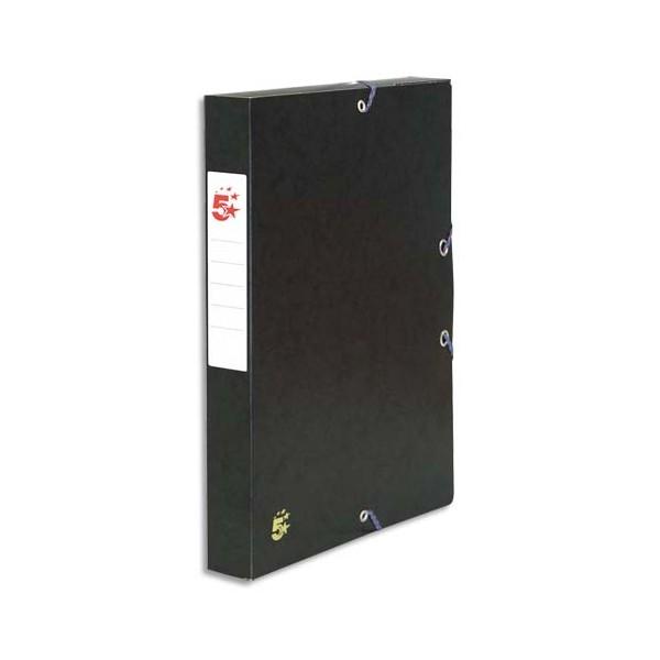 5 ETOILES Boîte de classement à élastique en carte lustrée 7/10e, dos de 4 cm, coloris noir (photo)
