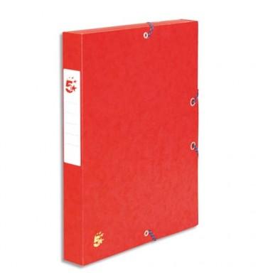 5 ETOILES Boîte de classement à élastique en carte dos de 4 cm, en carte lustrée rouge