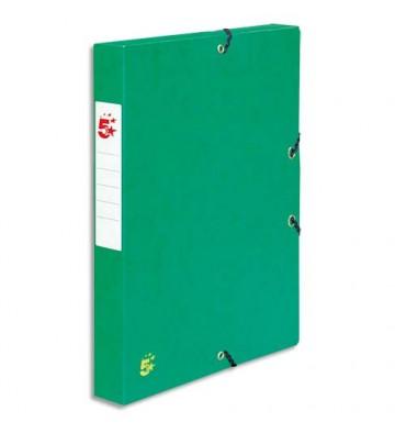 5 ETOILES Boîte de classement à élastique en carte dos de 4 cm, en carte lustrée vert