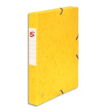 5 ETOILES Boîte de classement à élastique en carte dos de 4 cm, en carte lustrée jaune