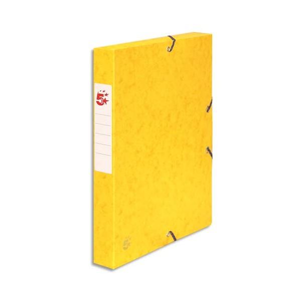 5 ETOILES Boîte de classement à élastique en carte lustrée 7/10e, dos de 4 cm, coloris jaune (photo)