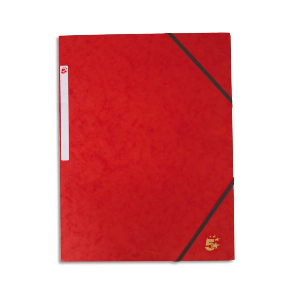 5 ETOILES Chemise simple à élastique en carte lustrée 5/10ème, 450g. Coloris rouge (photo)