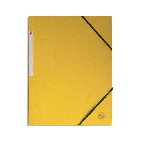 5 ETOILES Chemise simple à élastique en carte lustrée 5/10ème, 450g. Coloris jaune (photo)