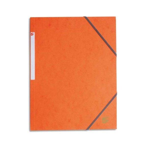 5 ETOILES Chemise simple à élastique en carte lustrée 5/10ème, 450g, coloris orange (photo)
