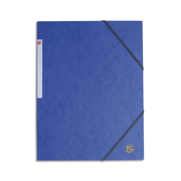 5 ETOILES Chemise simple à élastique en carte lustrée 5/10ème, 450g. Coloris bleu (photo)