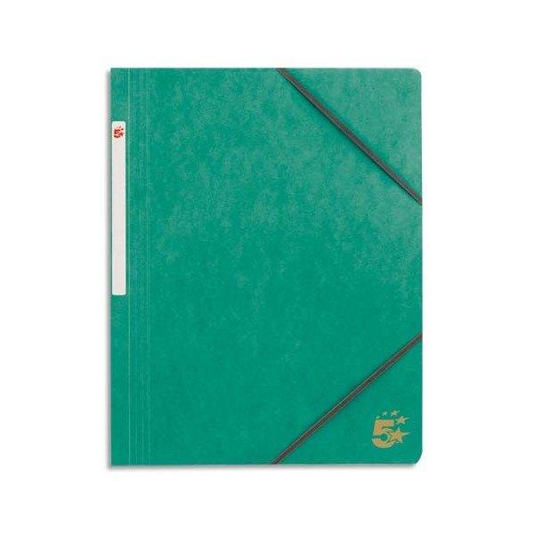 5 ETOILES Chemise simple à élastique en carte lustrée 5/10ème, 450g. Coloris vert (photo)