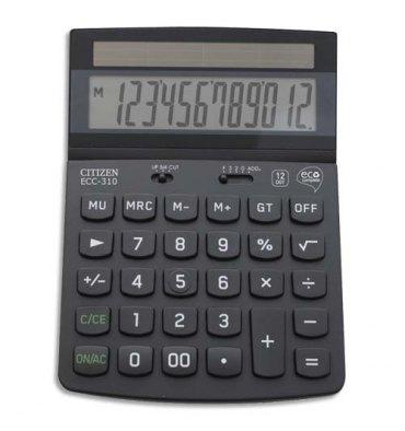 CITIZEN Calculatrice de bureau à 12 chiffres, ECC310 certifiée Blue Angel, coloris noir