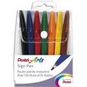 PENTEL Pochette de 7 stylos feutre pointe nylon 7 couleurs d'encre SIGN PEN S520