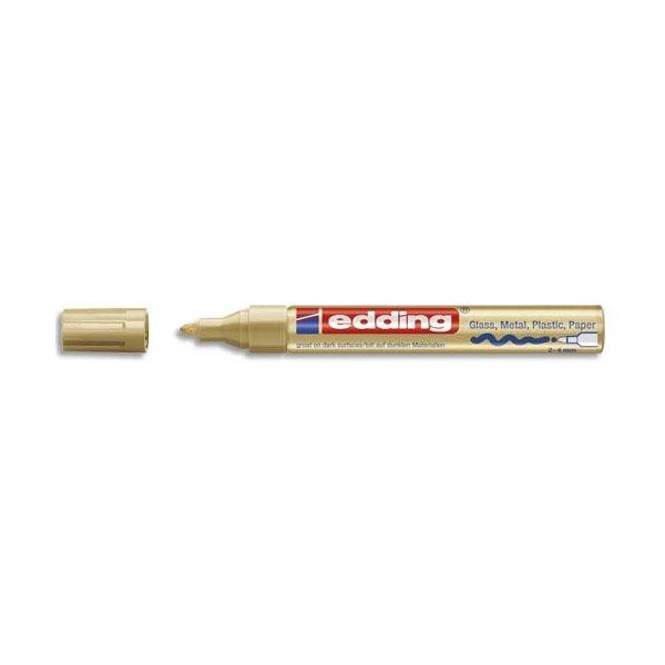 EDDING Marqueur peinture encre permanente laquée or pour toutes surfaces, pointe moyenne