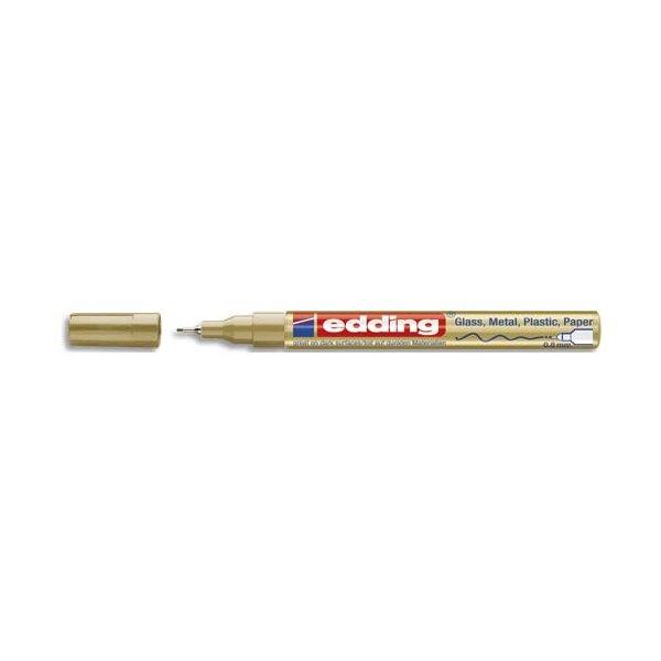 EDDING Marqueur peinture encre permanente laquée or, pour toutes surfaces, pointe extra fine
