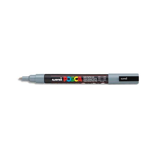 UNIBALL Marqueur peinture à l'eau, encre à pigmentation gris, pointe fine UNI POSCA PC3M