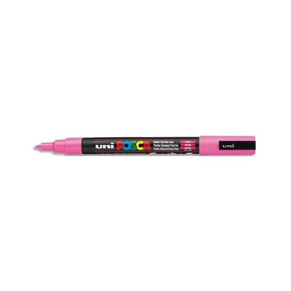 UNIBALL Marqueur peinture à l'eau, encre à pigmentation rose, pointe fine UNI POSCA PC3M