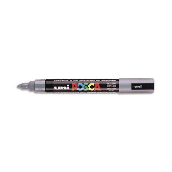 UNIBALL Marqueur peinture à l'eau, encre à pigmentation gris, pointe moyenne UNI POSCA PC5M