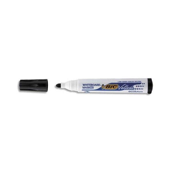 BIC Marqueur effaçable à sec pour tableaux blancs pointe ogive encre à base d'alcool noire VELLEDA 1701