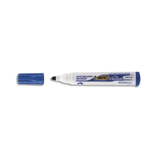 BIC Marqueur effaçable à sec pour tableaux blancs pointe ogive encre à base d'alcool bleue VELLEDA 1701