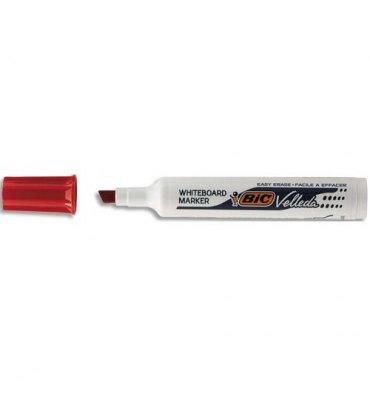 BIC Marqueur effaçable à sec pour tableaux blancs pointe biseautée encre cétone rouge VELLEDA 1791