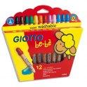 GIOTTO Etui de 12 crayons de couleur be-bè maxi bois + taille crayons, mine large 7 mm