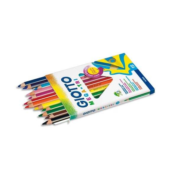 GIOTTO Etui 12 crayons de couleur Méga. Corps triangulaire, mine 5,5 mm. Coloris assortis