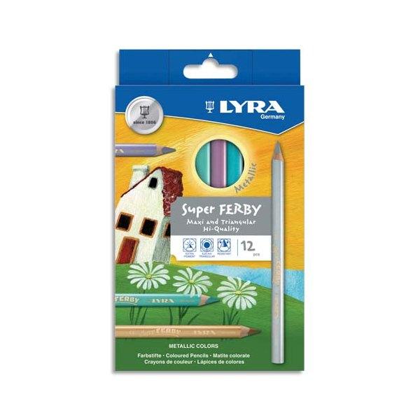 LYRA Etui 12 crayons de coloriage Super Ferby. Corps triangulaire, mine 6,50mm. Coloris métalliques ass