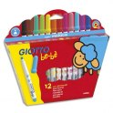 GIOTTO Etui 12 feutres de coloriage BEBE. Pointe maxi ogive. Coloris assortis