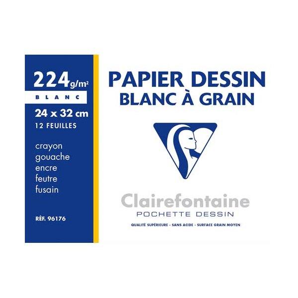 CLAIREFONTAINE Pochette de 12 feuilles papier dessin blanc 24 x 32 cm 224g