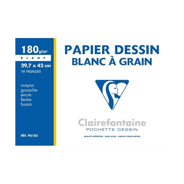 CLAIREFONTAINE Pochette de 10 feuilles papier dessin blanc A3 180g