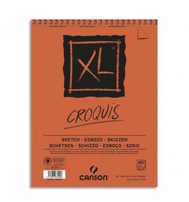 CANSON Album de 60 feuilles de papier dessin CROQUIS XL spirale 90g A5