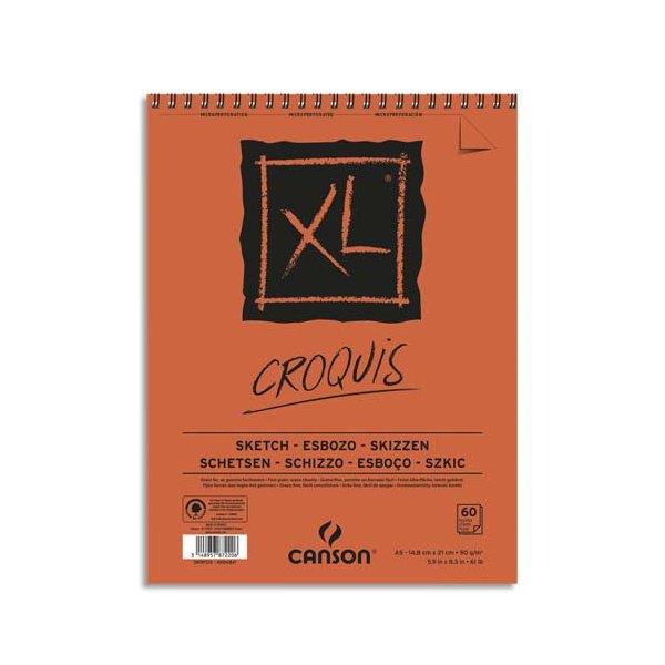 CANSON Album de 60 feuilles de papier dessin CROQUIS XL spirale 90g A5 (photo)