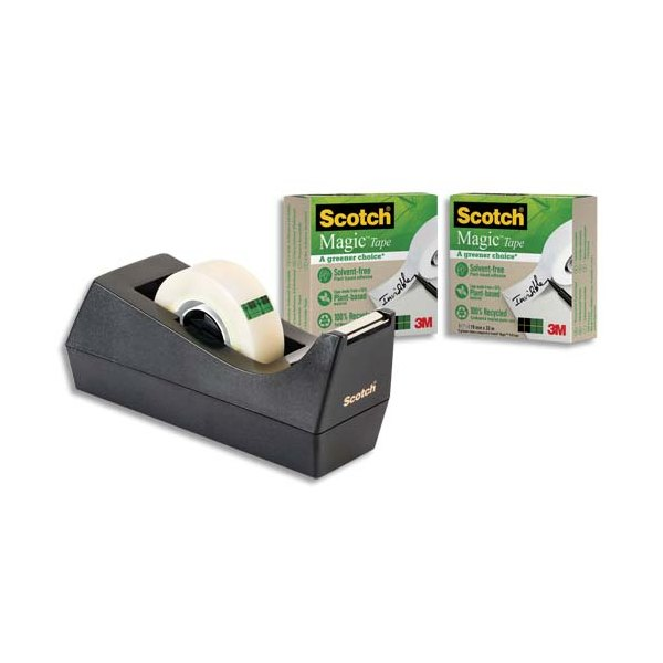 SCOTCH Dévidoir noir C38 recyclé et lot de 3 rubans Scotch Magic Recyclé de 19 mm x 33 m