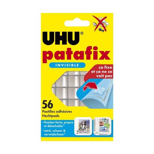 UHU Etui de 56 pastilles Patafix adhésives double face, ultra fines et invisibles (photo)
