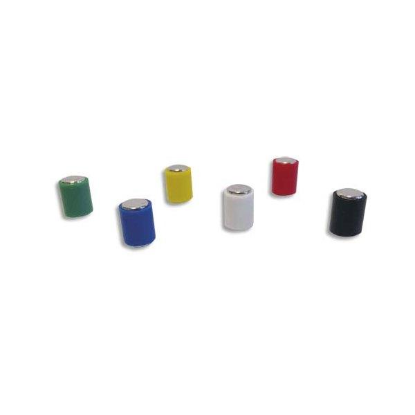 WONDAY Lot de 12 aimants magnétiques cylindrique. Diamètre 6 x 10 mm - 1 à 20 feuilles - assortis