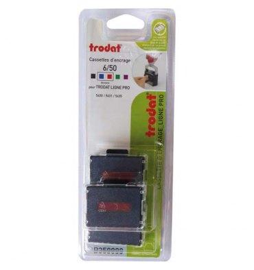 TRODAT Blister de 3 recharges 6/50/2 bicolores bleu et rouge pour tampon 5430L