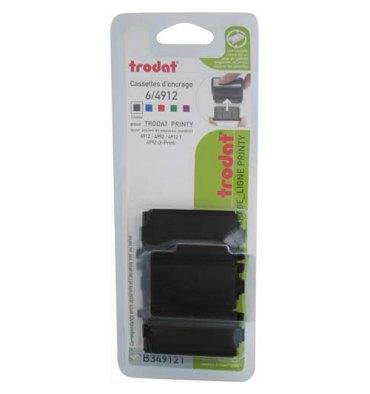 TRODAT Lot de 3 recharges d'encre 6/4912A compatible PRINTY 4912 / X-PRINT coloris noir