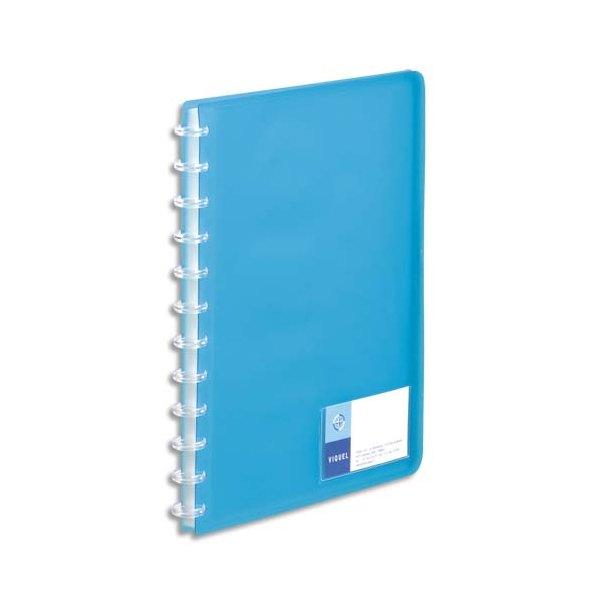 VIQUEL Protège-documents MAXI GEODE translucide, couverture personnalisable 60 vues, coloris bleu