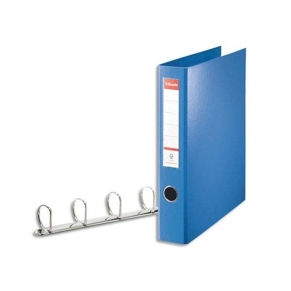 ESSELTE Classeur 4 anneaux en carton recouvert de polypropylène dos 6 cm intérieur et extérieur bleu