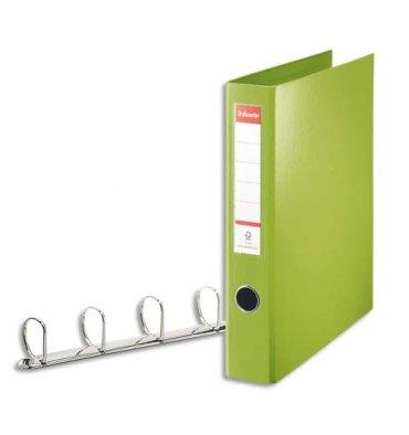 ESSELTE Classeur 4 anneaux en carton recouvert de polypropylène dos 6 cm intérieur et extérieur vert