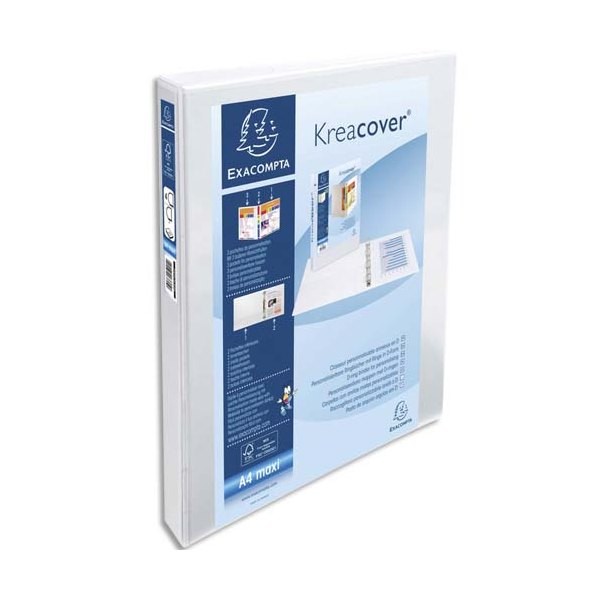 EXACOMPTA Classeur personnalisable KREACOVER 2 faces dos de 3,4 cm diamètre anneaux 20 mm