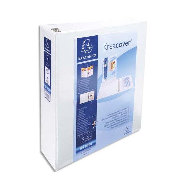 EXACOMPTA Classeur personnalisable KREACOVER 2 faces dos de 8,6 cm diamètre anneaux 60 mm en polypropylène blanc