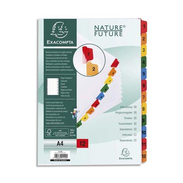 EXACOMPTA Jeu d'intercalaires numérique 12 positions en carte blanche 170g, onglets Mylar®. Format A4
