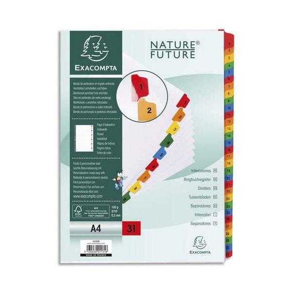 EXACOMPTA Jeu d'intercalaires numérique 31 positions en carte blanche 170g, onglets Mylar®. Format A4