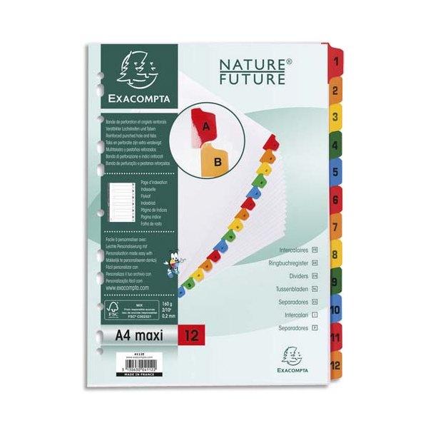 EXACOMPTA Jeu d'intercalaires numérique 12 positions en carte blanche 170g, onglets Mylar®. Format A4+