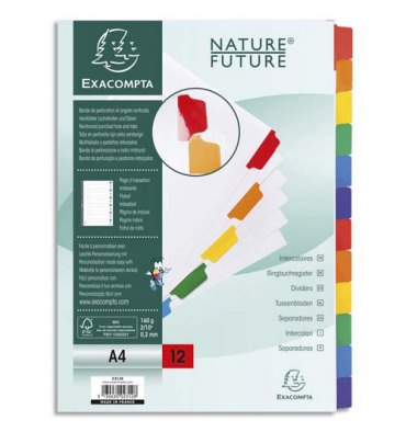 EXACOMPTA Jeu d'intercalaire 12 positions en carte blanche 170g, onglets Mylar®. Format A4.