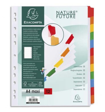 EXACOMPTA Jeu d'intercalaires 12 positions en carte blanche 170g, onglets Mylar®. Format A4+
